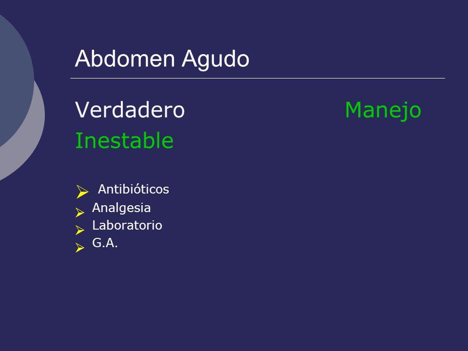 Antibióticos Abdomen Agudo Verdadero Manejo Inestable Analgesia
