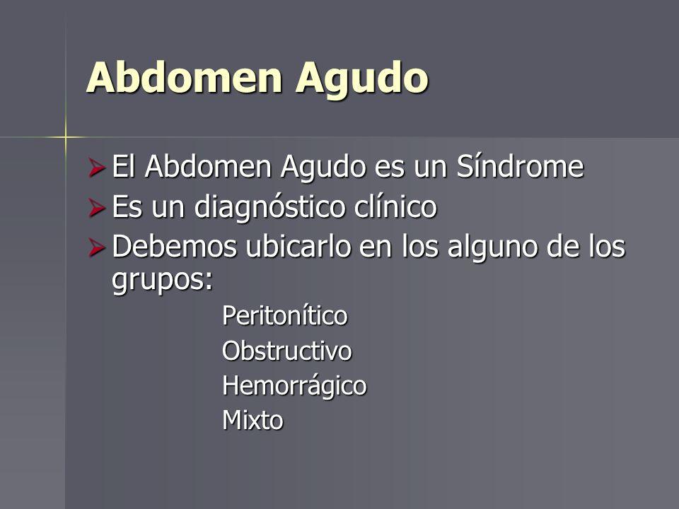 Abdomen Agudo El Abdomen Agudo es un Síndrome