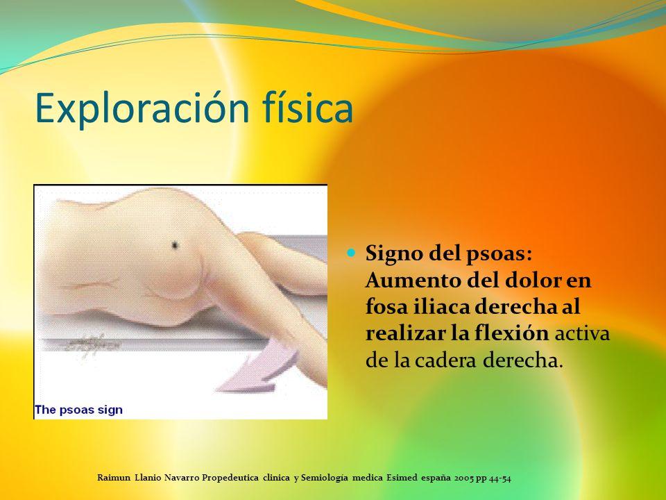 Exploración físicaSigno del psoas: Aumento del dolor en fosa iliaca derecha al realizar la flexión activa de la cadera derecha.
