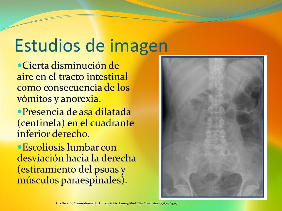Estudios de imagenCierta disminución de aire en el tracto intestinal como consecuencia de los vómitos y anorexia.