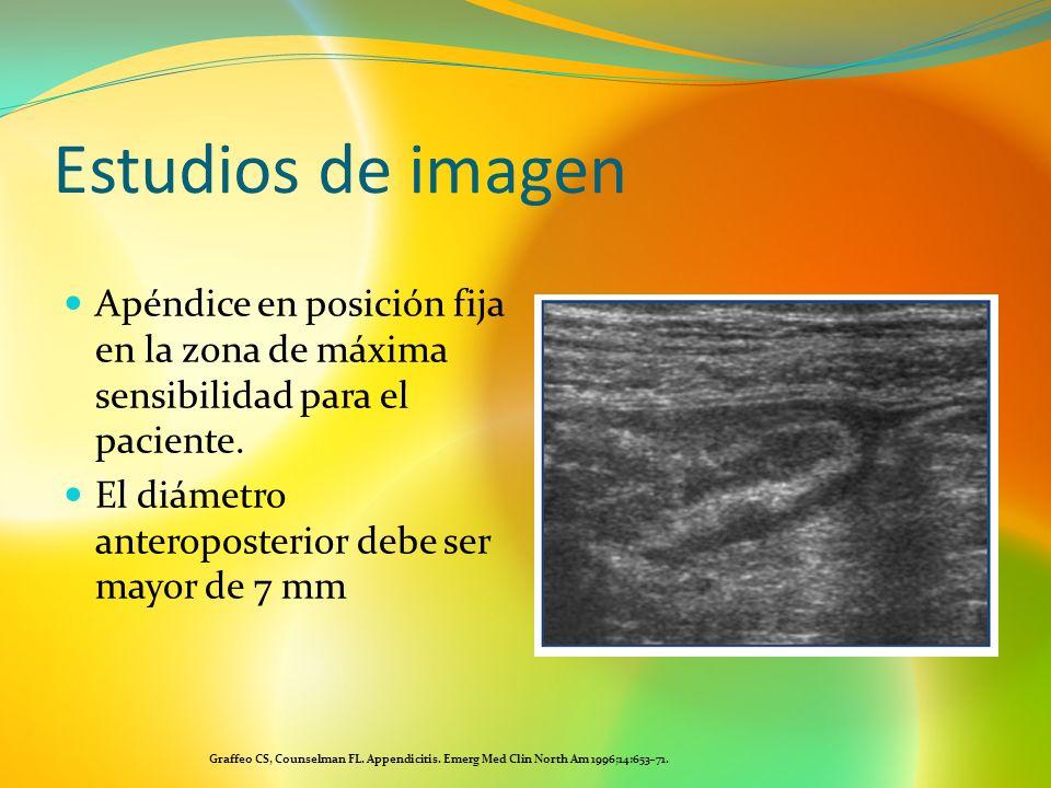 Estudios de imagenApéndice en posición fija en la zona de máxima sensibilidad para el paciente. El diámetro anteroposterior debe ser mayor de 7 mm.