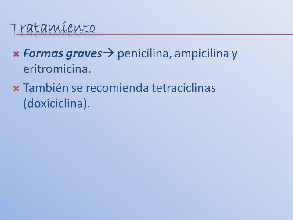 Tratamiento Formas graves penicilina, ampicilina y eritromicina.