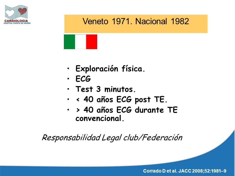 Veneto 1971. Nacional 1982 Exploración física. ECG Test 3 minutos.