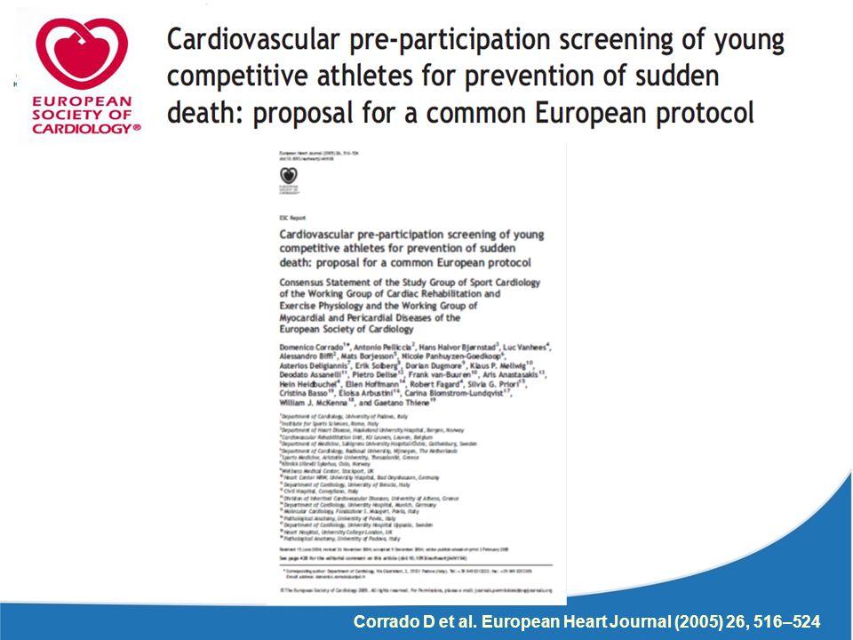 Corrado D et al. European Heart Journal (2005) 26, 516–524