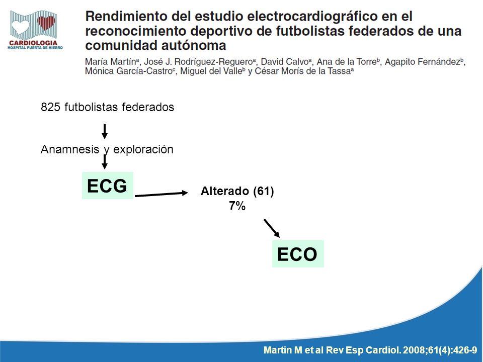 ECG ECO 825 futbolistas federados Anamnesis y exploración