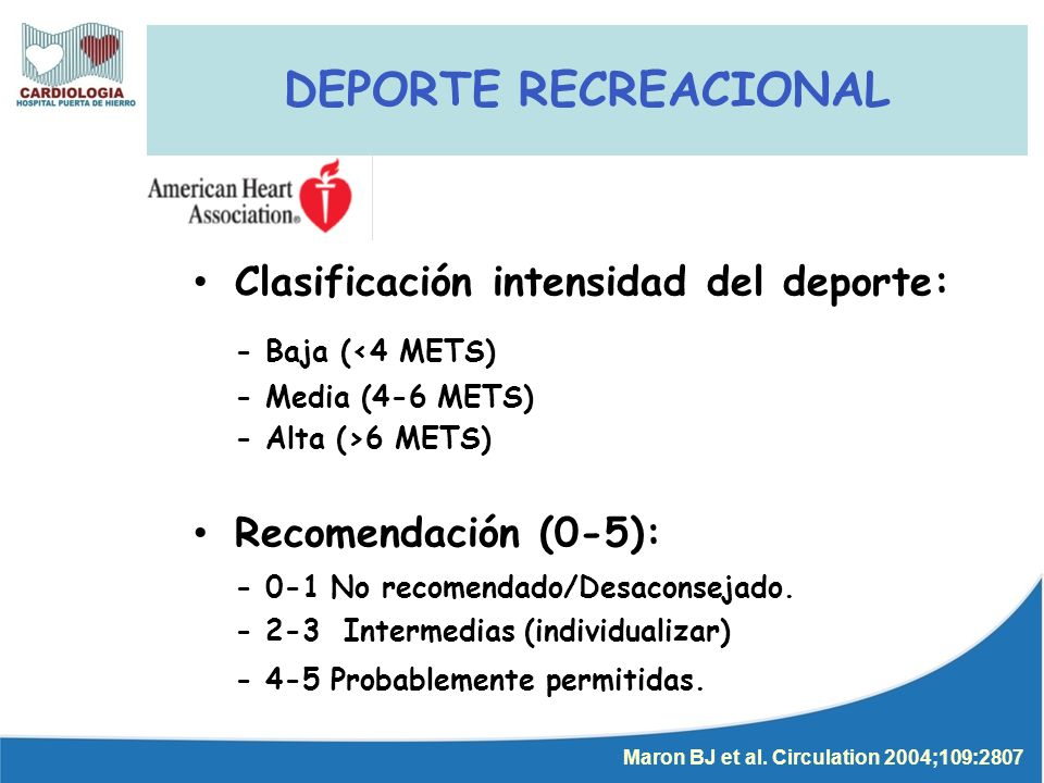 DEPORTE RECREACIONAL - Baja (<4 METS)