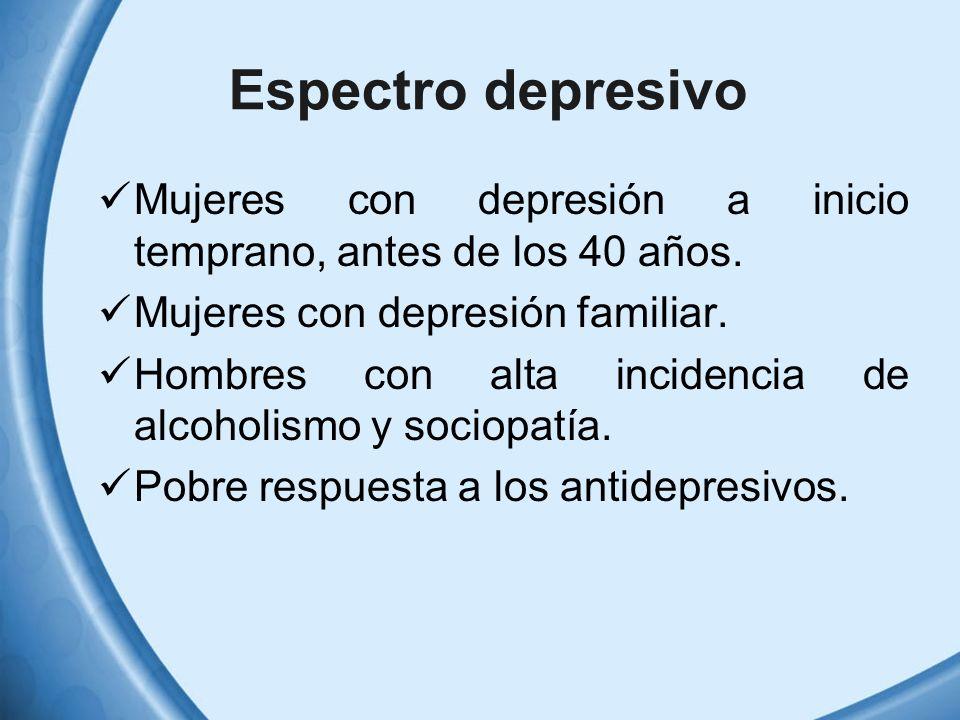 Espectro depresivo Mujeres con depresión a inicio temprano, antes de los 40 años. Mujeres con depresión familiar.
