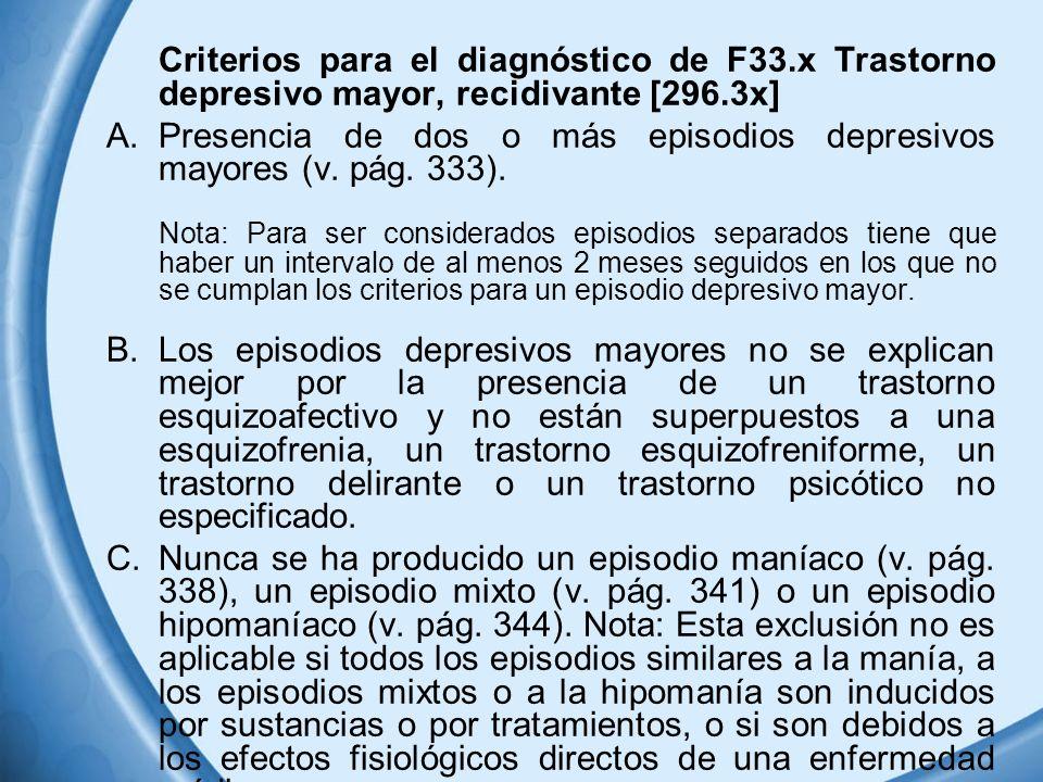 Criterios para el diagnóstico de F33