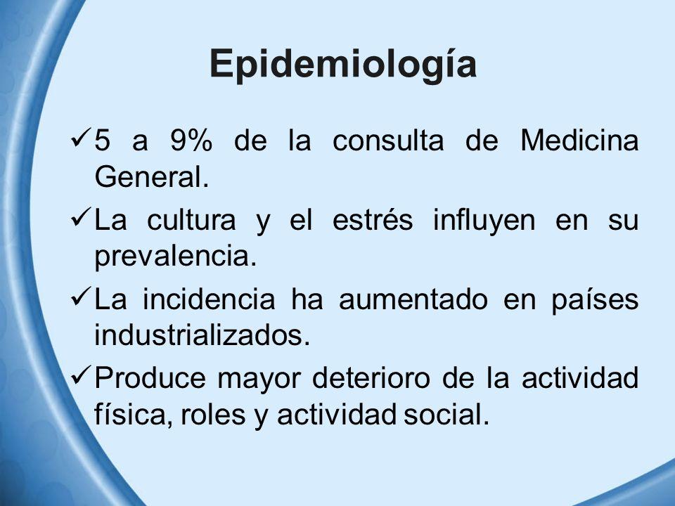 Epidemiología 5 a 9% de la consulta de Medicina General.