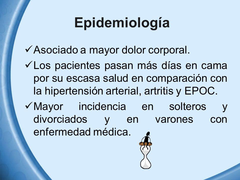 Epidemiología Asociado a mayor dolor corporal.