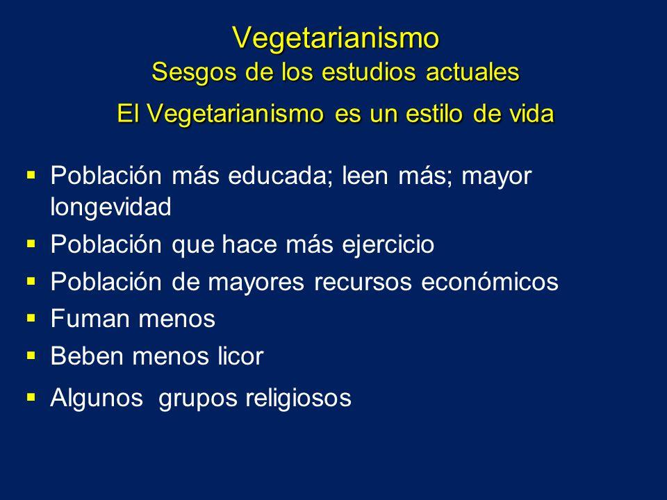 Vegetarianismo Sesgos de los estudios actuales El Vegetarianismo es un estilo de vida