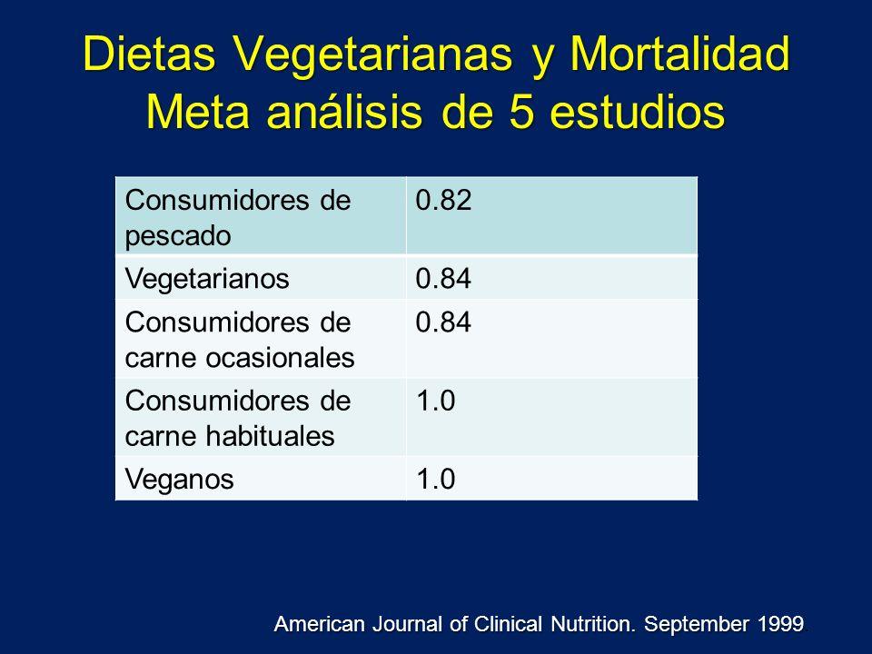 Dietas Vegetarianas y Mortalidad Meta análisis de 5 estudios