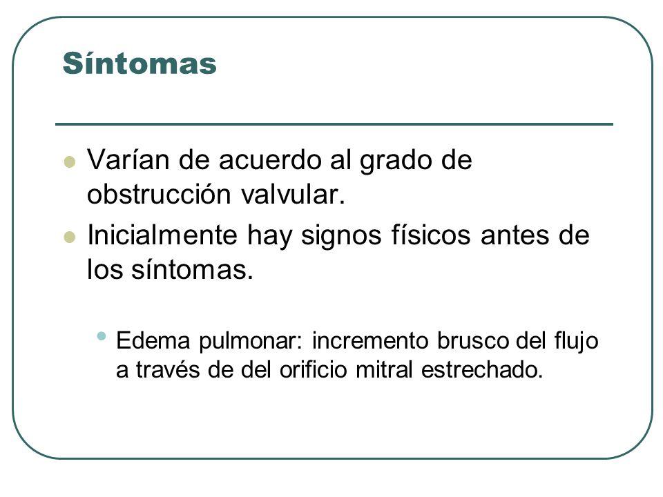 Síntomas Varían de acuerdo al grado de obstrucción valvular.