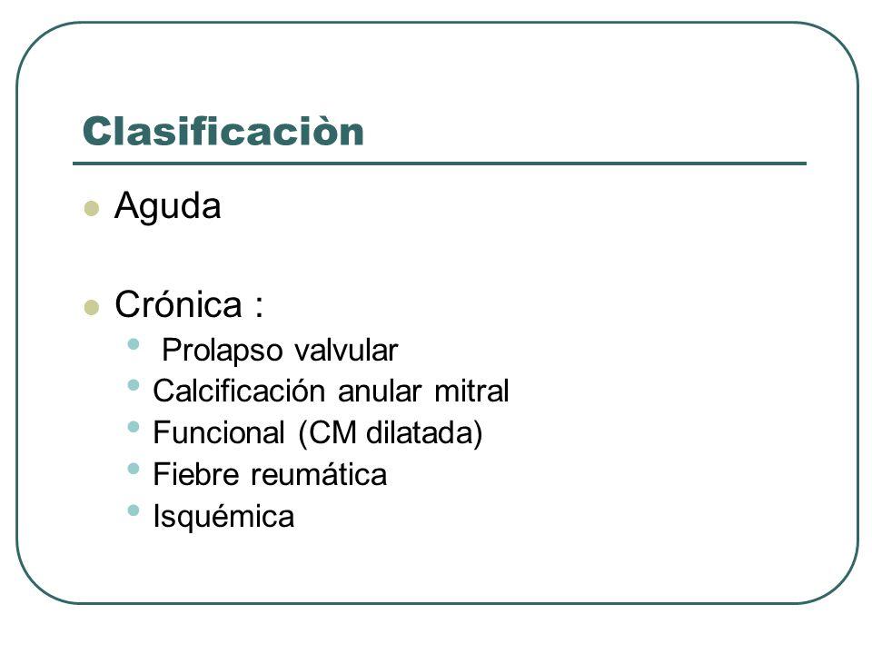 Clasificaciòn Aguda Crónica : Prolapso valvular