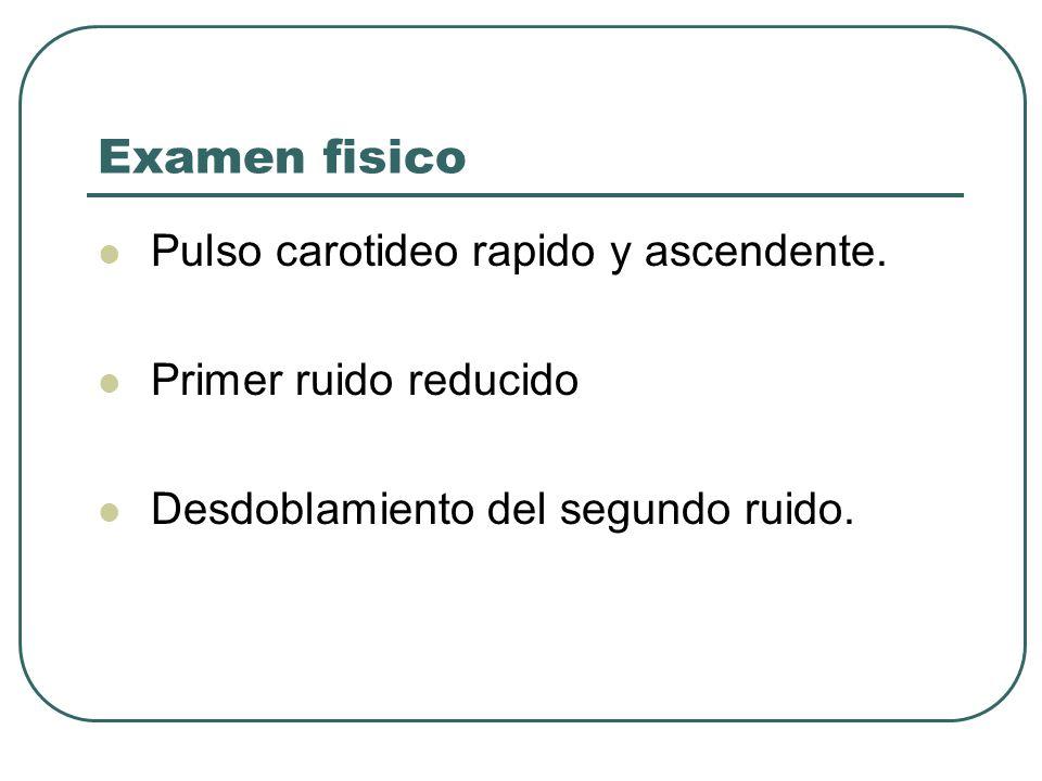 Examen fisico Pulso carotideo rapido y ascendente.