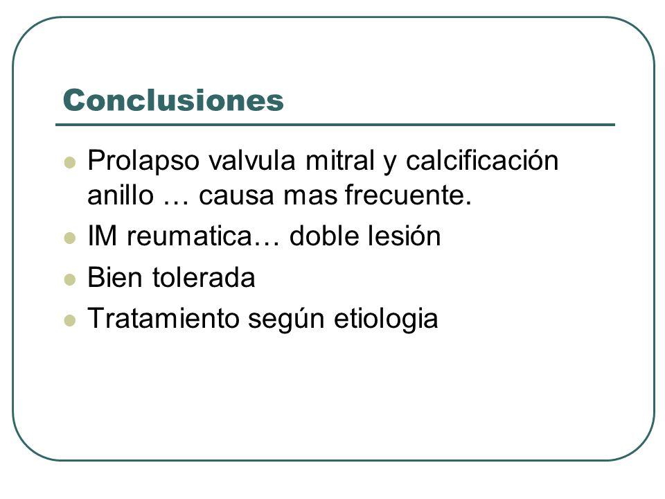 Conclusiones Prolapso valvula mitral y calcificación anillo … causa mas frecuente. IM reumatica… doble lesión.