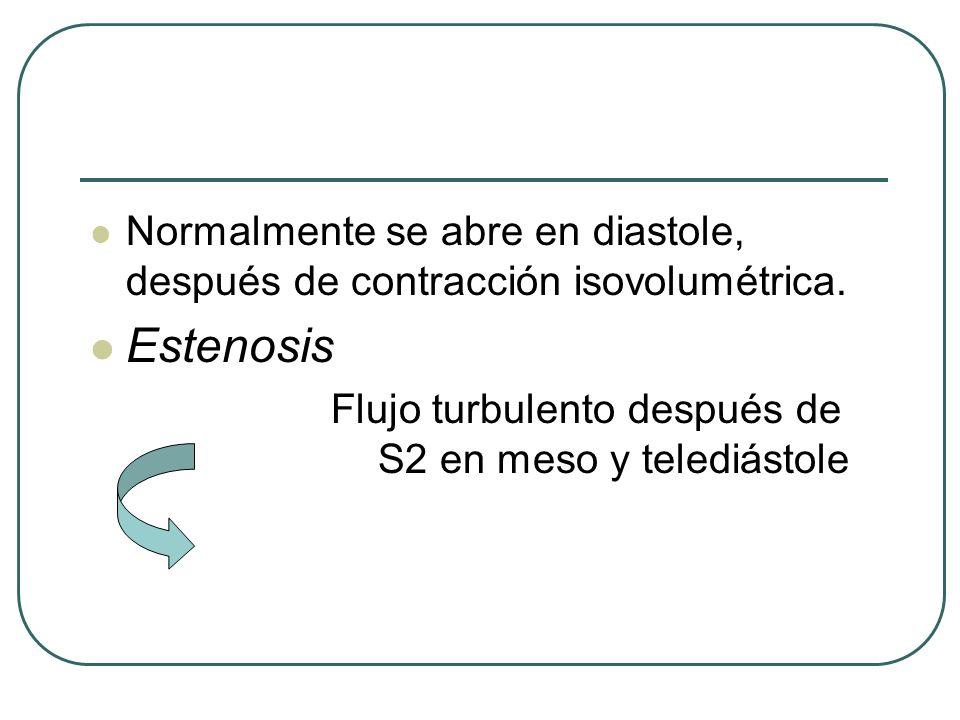 Normalmente se abre en diastole, después de contracción isovolumétrica.