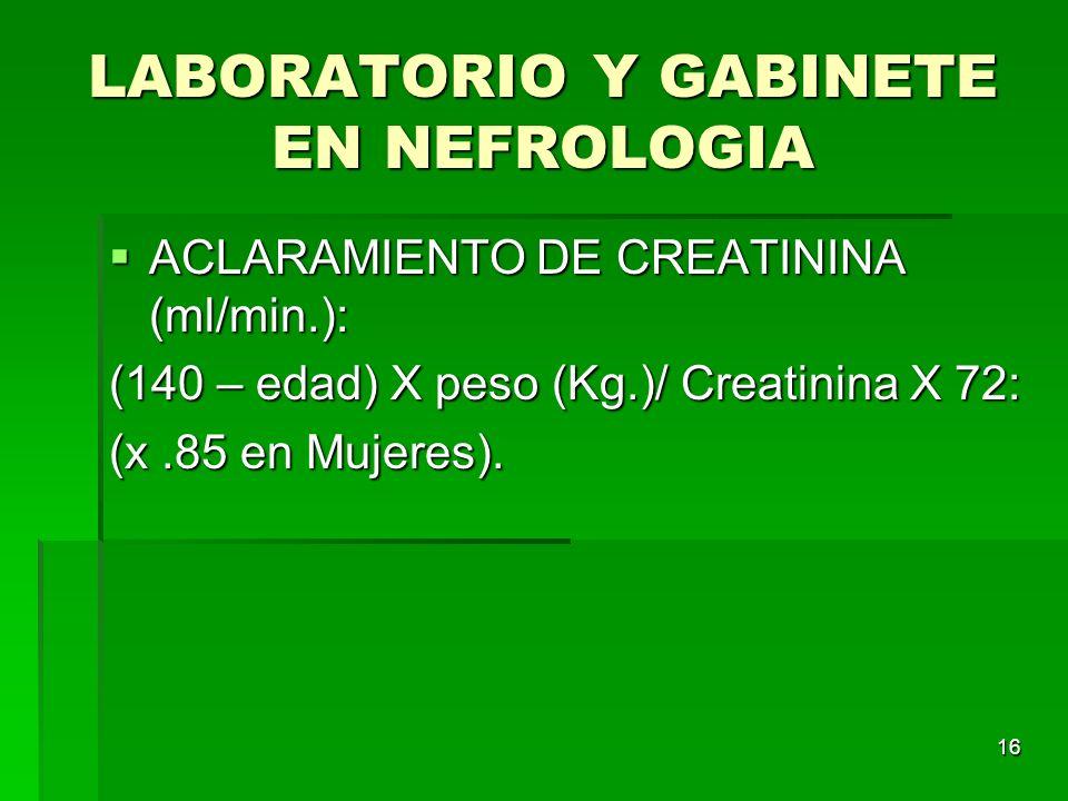 LABORATORIO Y GABINETE EN NEFROLOGIA