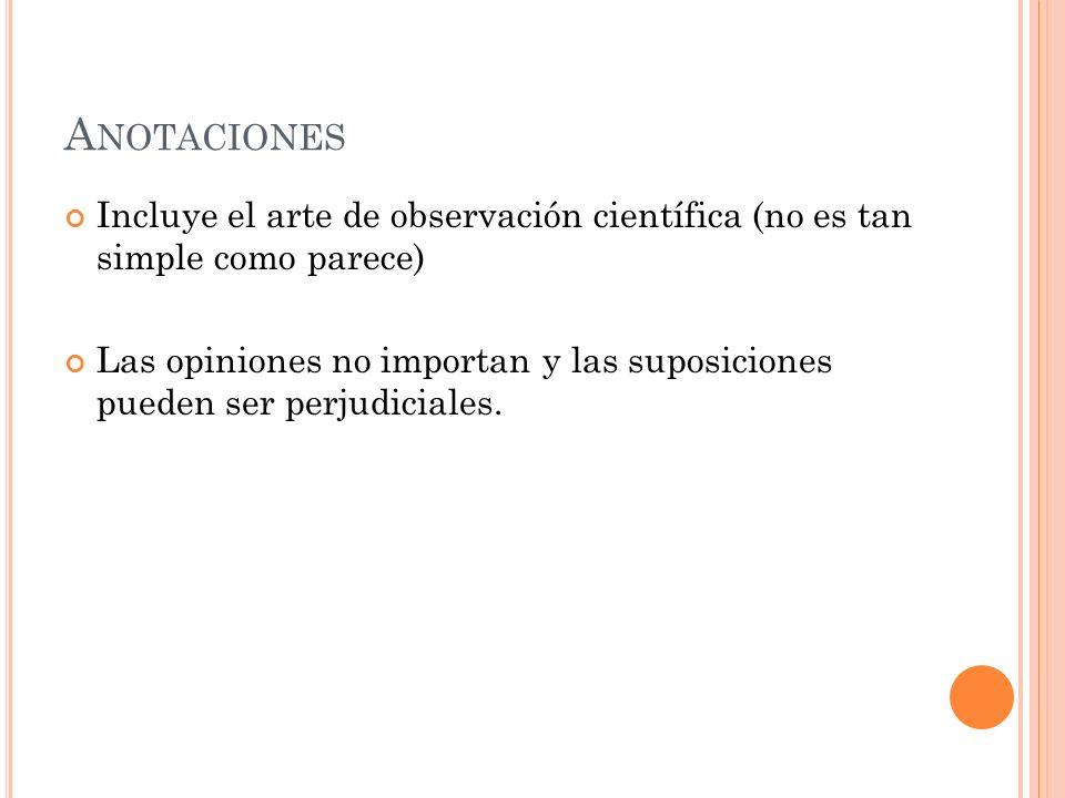 AnotacionesIncluye el arte de observación científica (no es tan simple como parece)