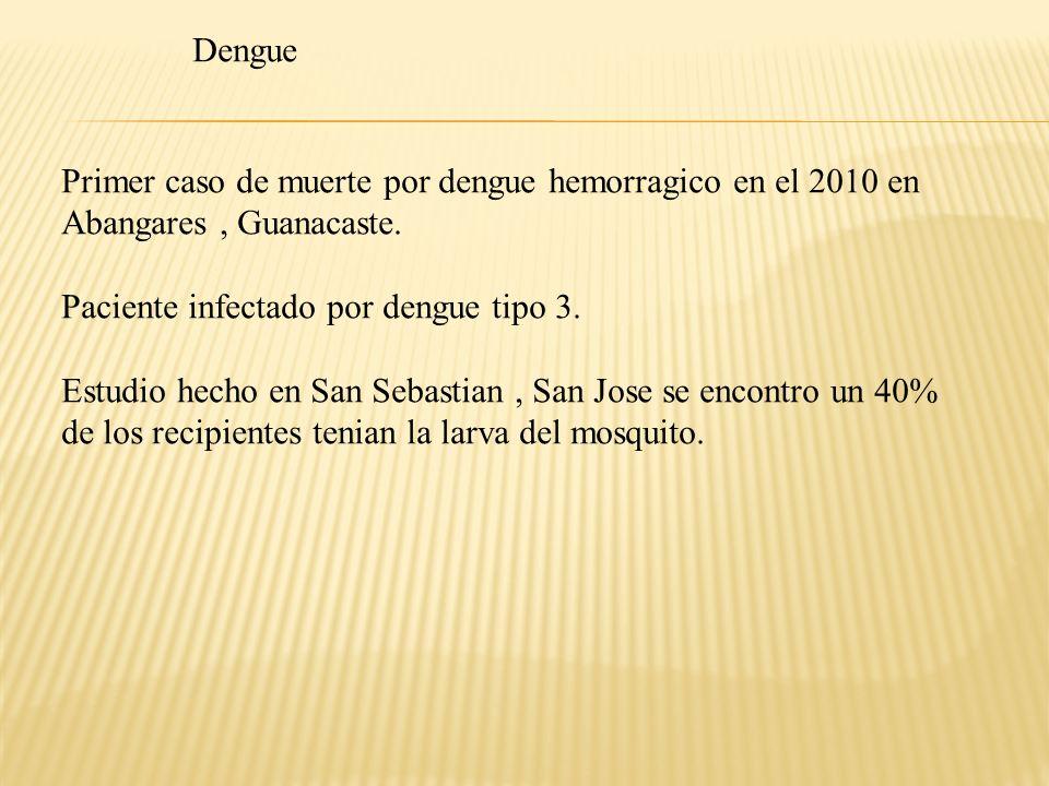 Dengue Primer caso de muerte por dengue hemorragico en el 2010 en. Abangares , Guanacaste. Paciente infectado por dengue tipo 3.