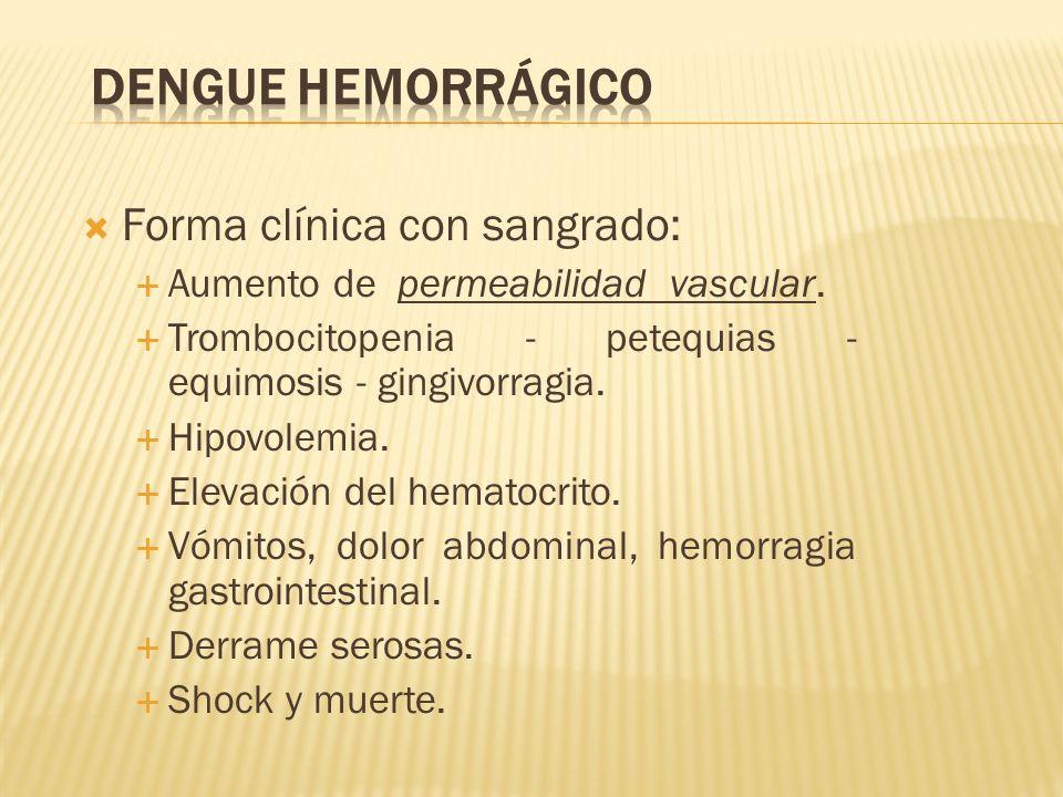 Dengue Hemorrágico Forma clínica con sangrado: