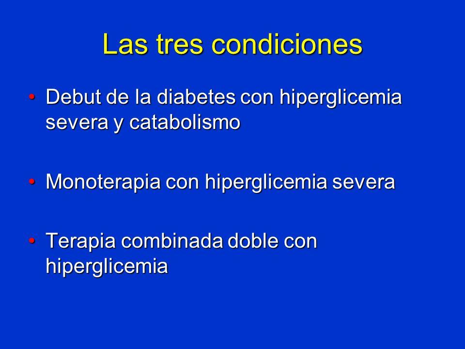 Las tres condiciones Debut de la diabetes con hiperglicemia severa y catabolismo. Monoterapia con hiperglicemia severa.