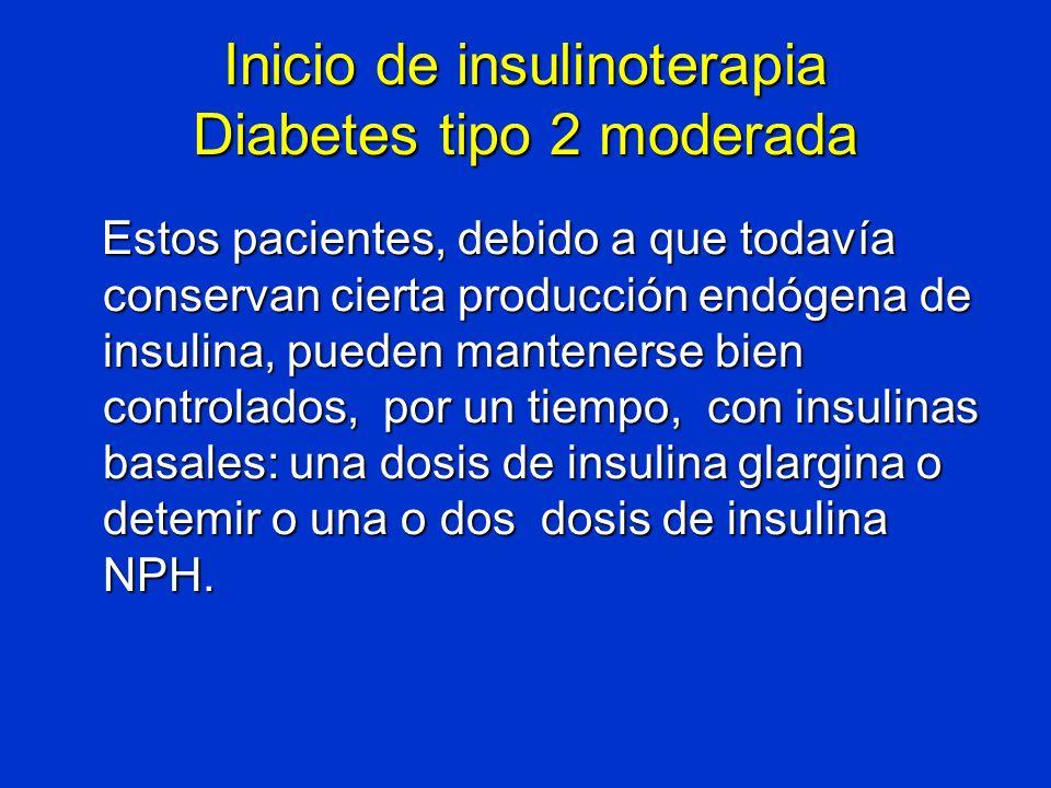 Inicio de insulinoterapia Diabetes tipo 2 moderada