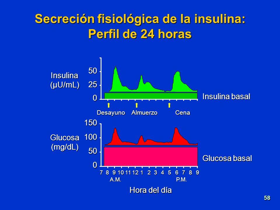 Secreción fisiológica de la insulina: Perfil de 24 horas