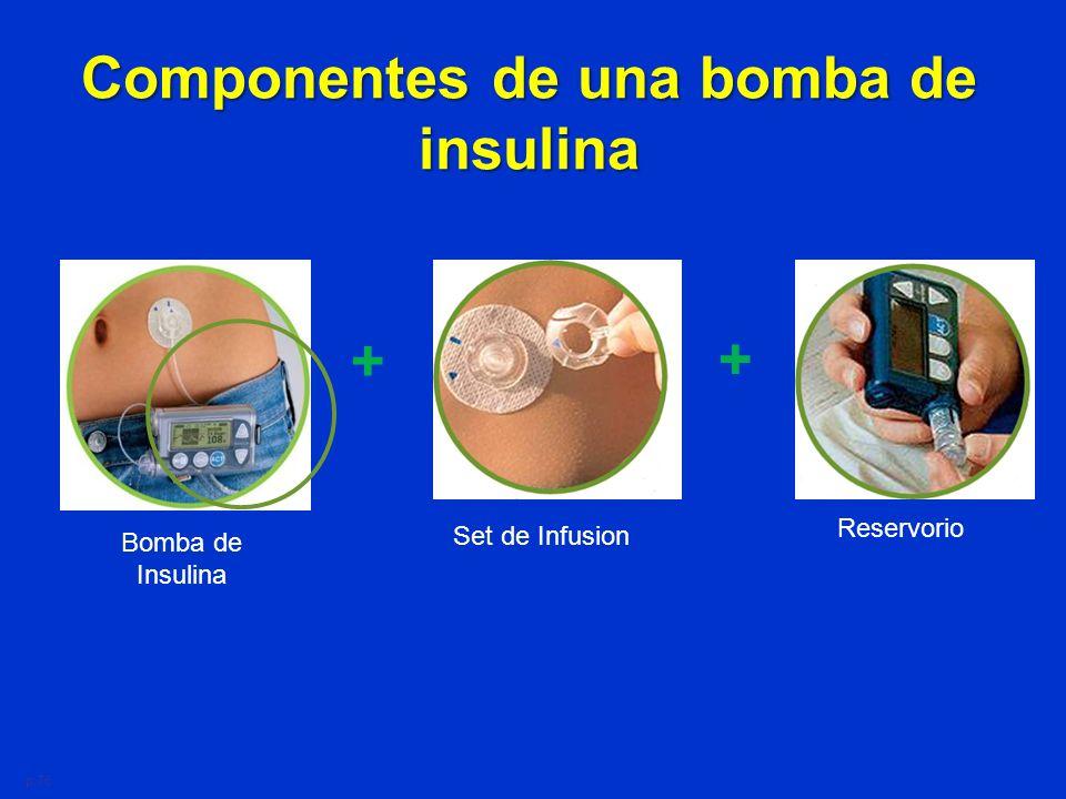 Componentes de una bomba de insulina
