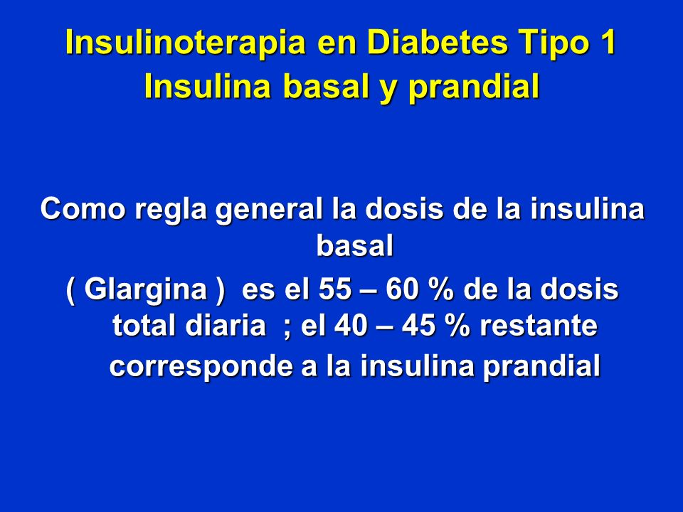 Insulinoterapia en Diabetes Tipo 1 Insulina basal y prandial