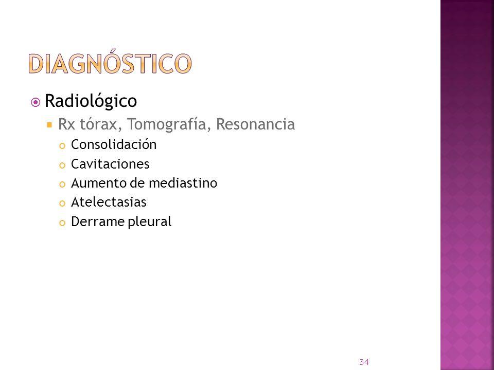 Diagnóstico Radiológico Rx tórax, Tomografía, Resonancia Consolidación