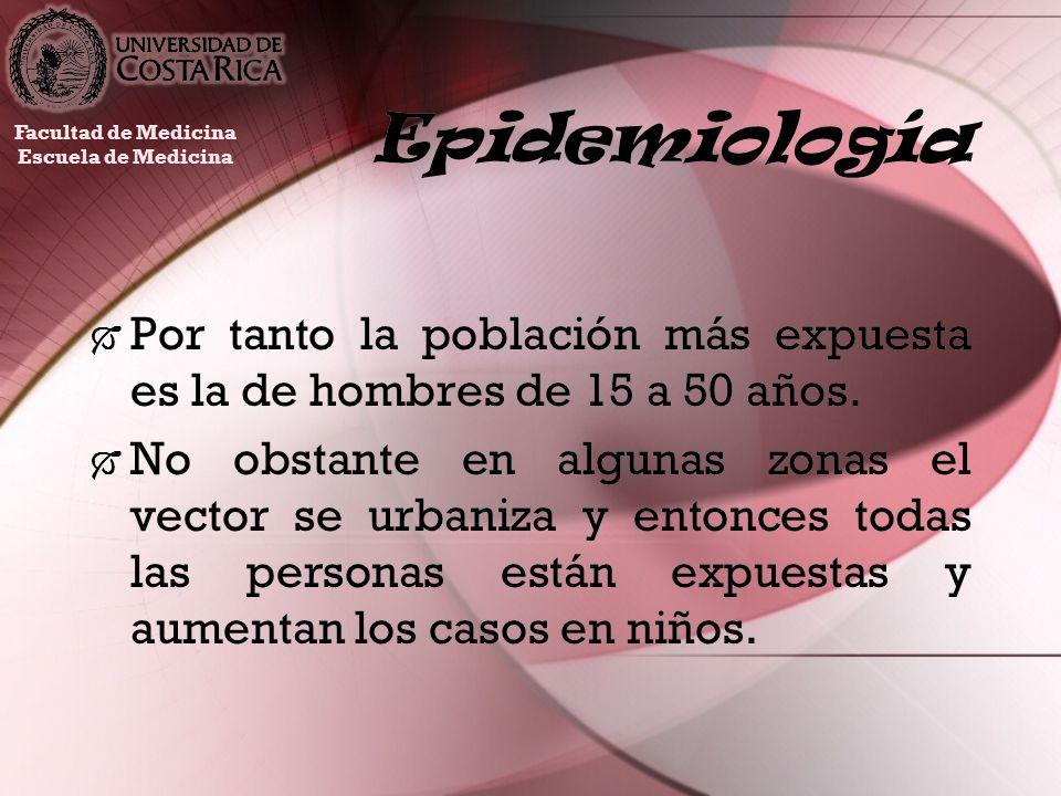 EpidemiologíaFacultad de Medicina. Escuela de Medicina. Por tanto la población más expuesta es la de hombres de 15 a 50 años.