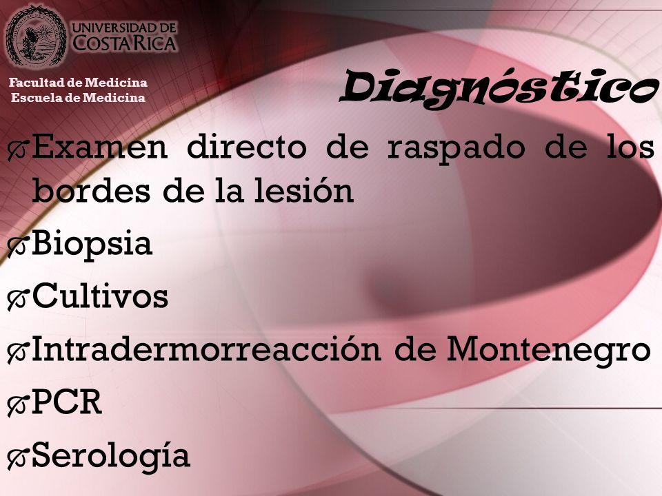Diagnóstico Examen directo de raspado de los bordes de la lesión