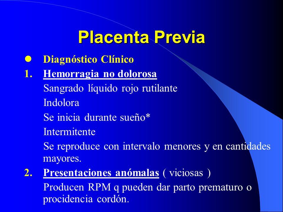 Placenta Previa Diagnóstico Clínico Hemorragia no dolorosa