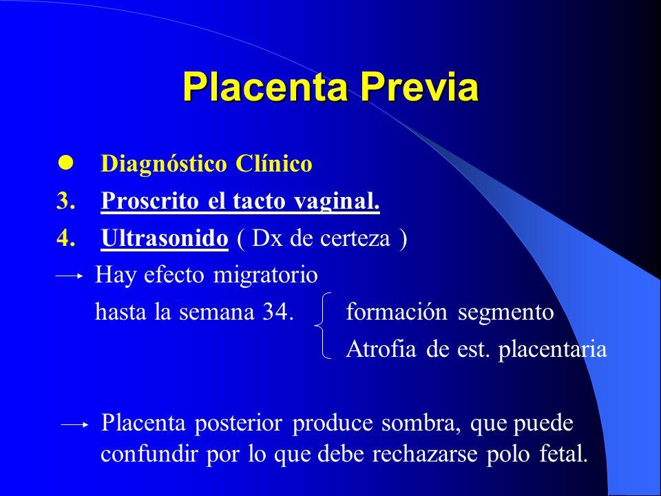 Placenta Previa Diagnóstico Clínico Proscrito el tacto vaginal.
