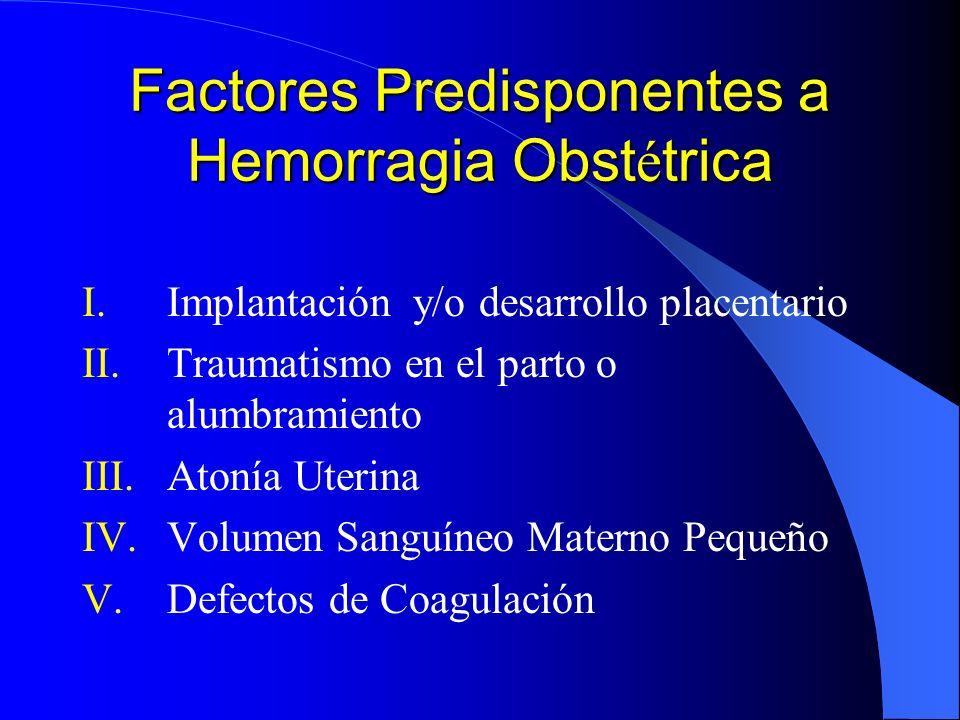 Factores Predisponentes a Hemorragia Obstétrica