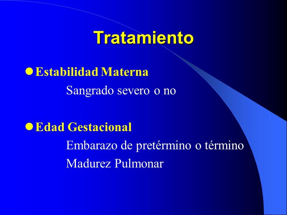 Tratamiento Estabilidad Materna Sangrado severo o no Edad Gestacional
