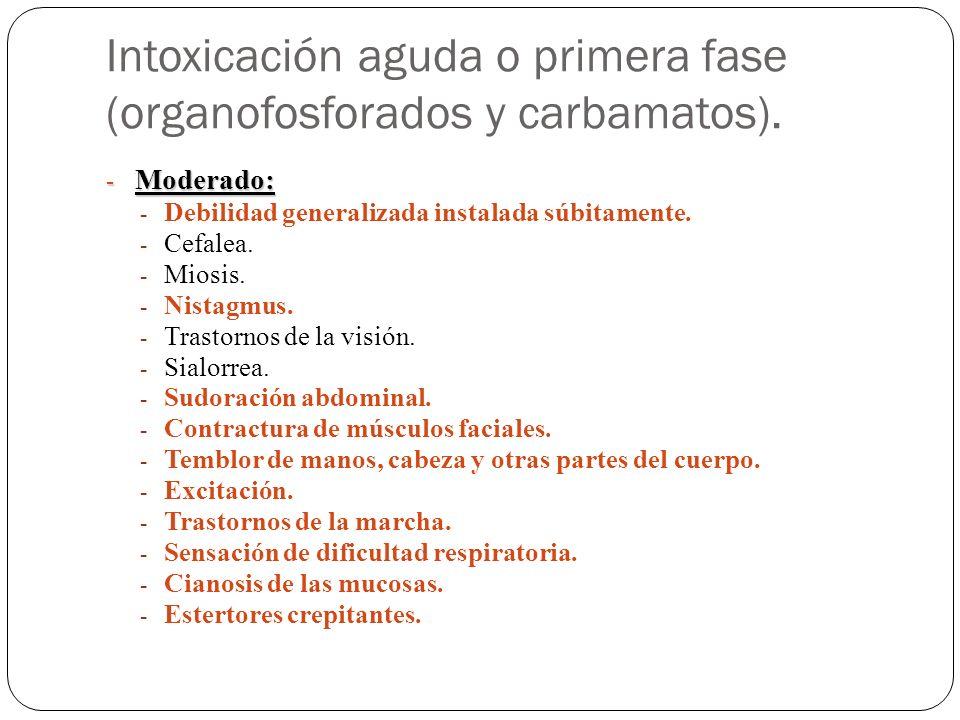 Intoxicación aguda o primera fase (organofosforados y carbamatos).