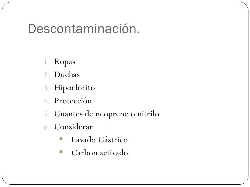 Descontaminación. Ropas Duchas Hipoclorito Protección