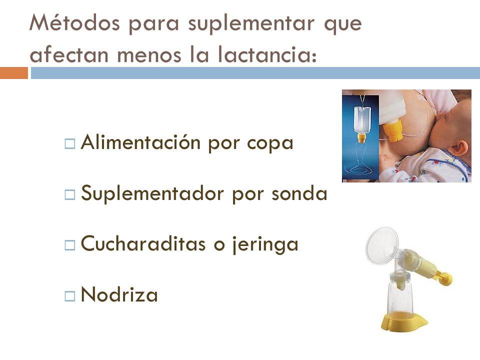 Métodos para suplementar que afectan menos la lactancia: