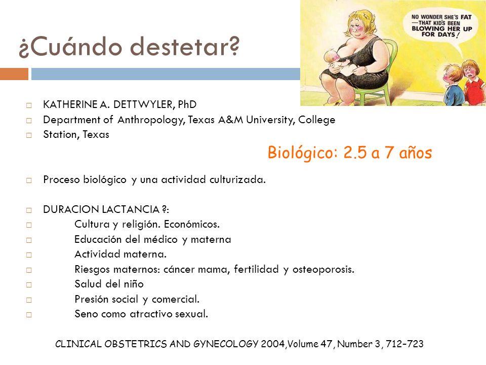 ¿Cuándo destetar Biológico: 2.5 a 7 años KATHERINE A. DETTWYLER, PhD