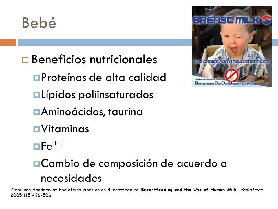 Bebé Beneficios nutricionales Proteínas de alta calidad