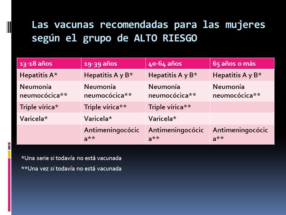 Las vacunas recomendadas para las mujeres según el grupo de ALTO RIESGO