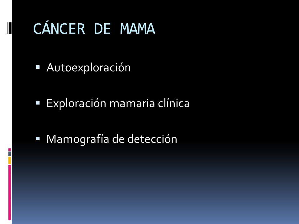CÁNCER DE MAMA Autoexploración Exploración mamaria clínica