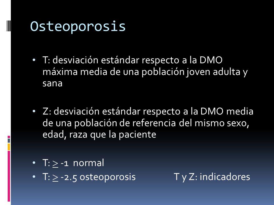 OsteoporosisT: desviación estándar respecto a la DMO máxima media de una población joven adulta y sana.
