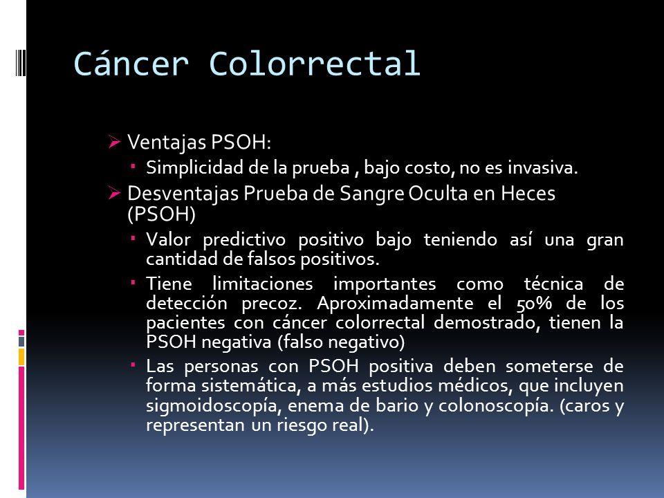 Cáncer Colorrectal Ventajas PSOH: