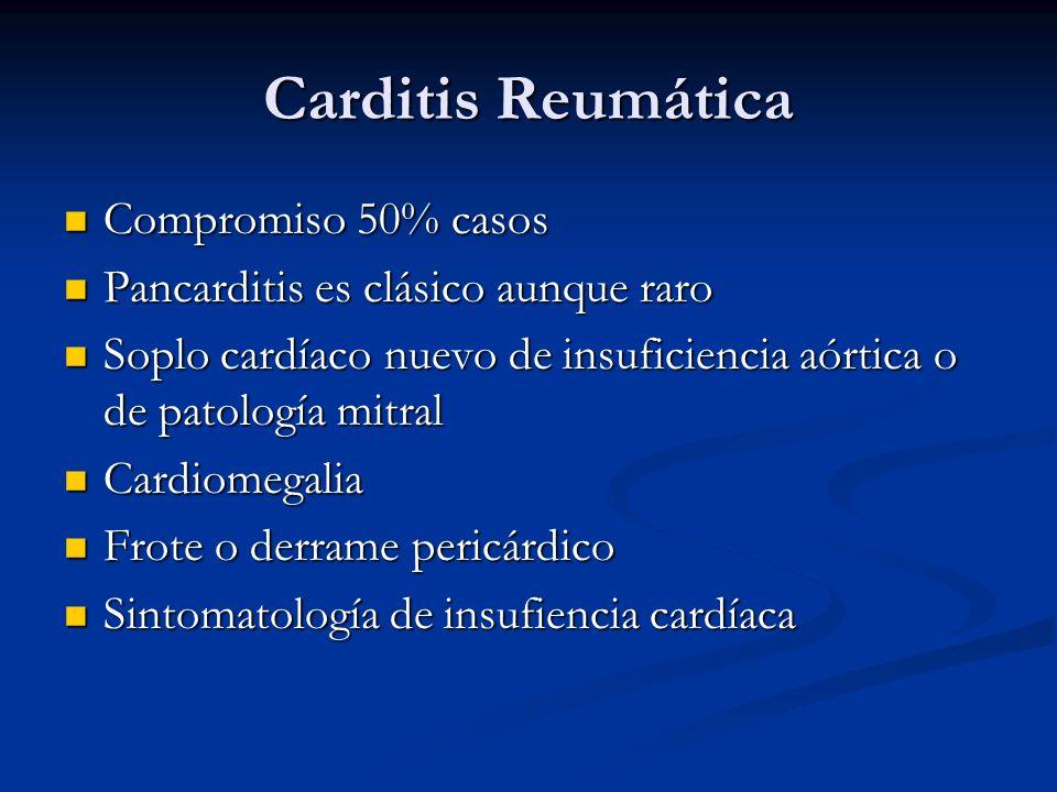 Carditis Reumática Compromiso 50% casos