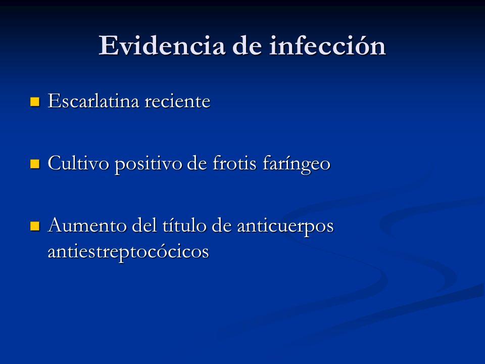 Evidencia de infección