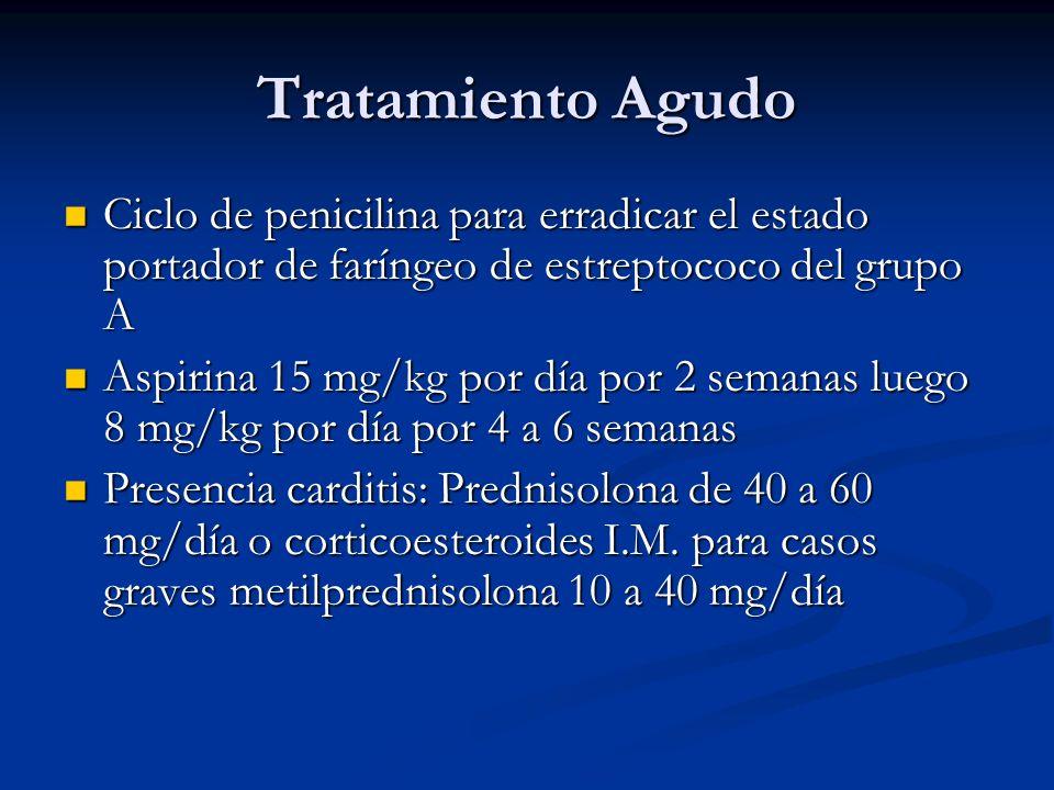 Tratamiento Agudo Ciclo de penicilina para erradicar el estado portador de faríngeo de estreptococo del grupo A.