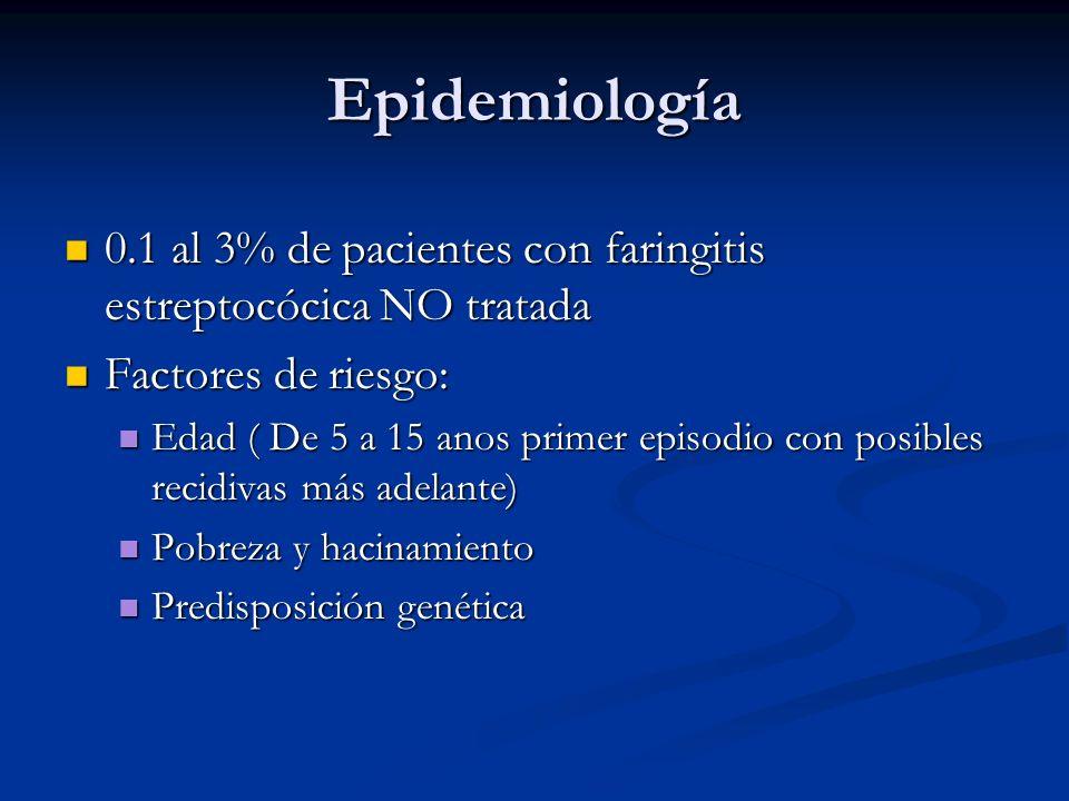 Epidemiología 0.1 al 3% de pacientes con faringitis estreptocócica NO tratada. Factores de riesgo: